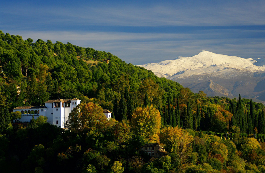 Granada: Generalife with the Sierra Mountains